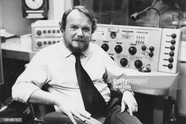Portrait of broadcaster Brian Redhead in a radio studio September 27th 1977