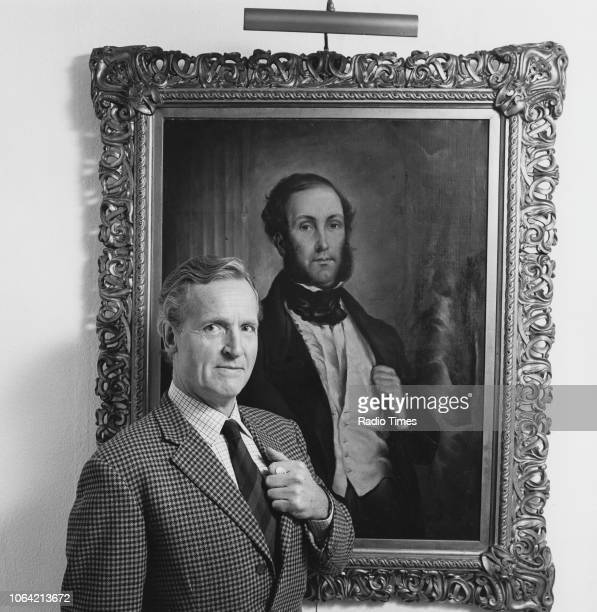 Portrait of broadcaster Nicholas Parsons imitating a painting on the wall photographed for Radio Times in connection with the BBC Radio 4 program...