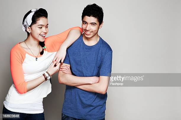 portrait of brother and sister - teenagers only stock pictures, royalty-free photos & images