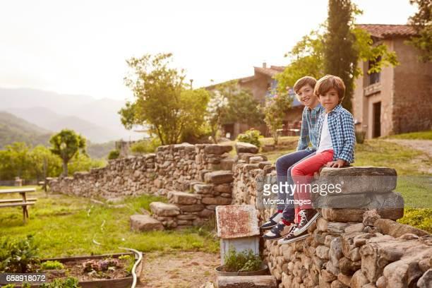 portrait of brothers sitting on stone wall - cena não urbana imagens e fotografias de stock