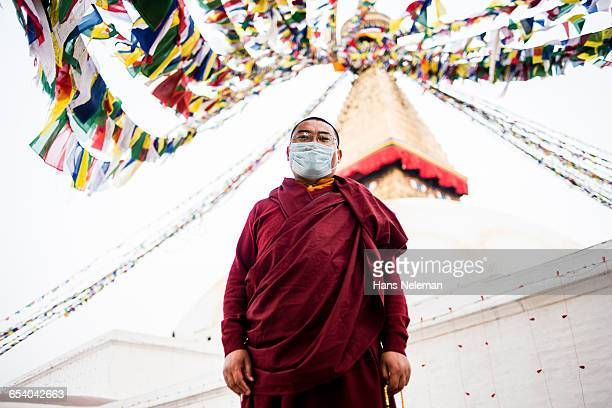 Portrait of Buddhist monk, outdoors