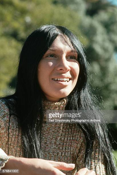 Portrait of Buffy St Marie a wellknown folk singer Native American activist and Sesame Street personality