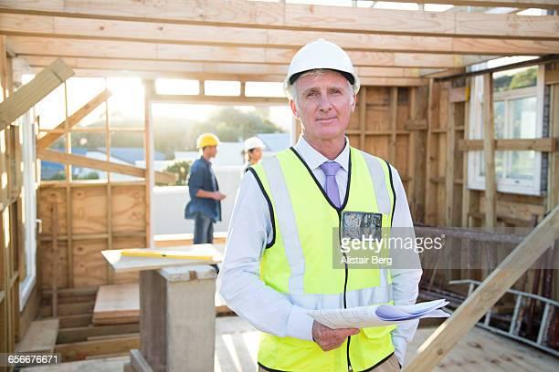 Portrait of building inspector on site