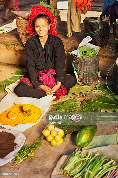 portrait of burmese market seller - myanmar culture stock photos and pictures