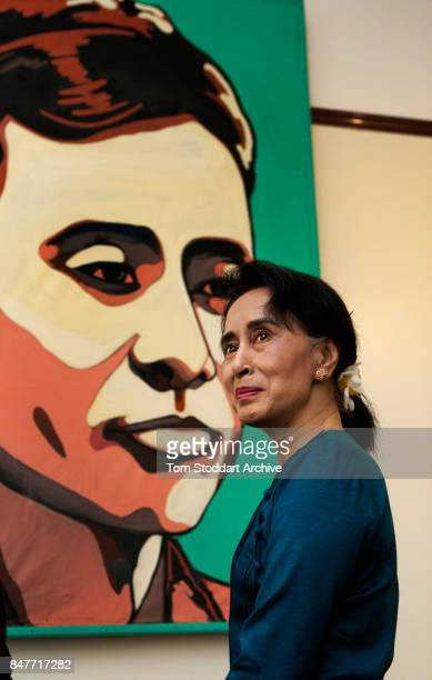 Portrait of Burmese Nobel Peace prize-winning politician Leader of the Opposition Aung San Suu Kyi as she poses in her home, Yangon , Myanmar, August...