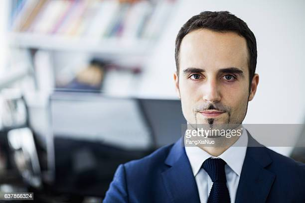 portrait of businessman in office - goatee stock pictures, royalty-free photos & images
