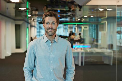 Portrait of businessman inside high-tech office - gettyimageskorea