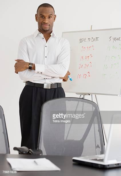 Portrait of businessman next to whiteboard