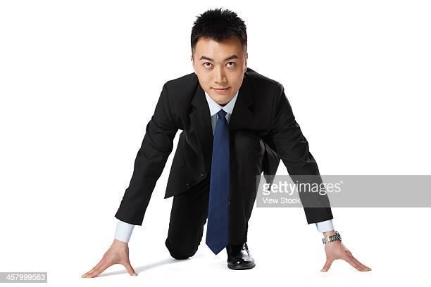 portrait of businessman - 陸上競技大会 ストックフォトと画像