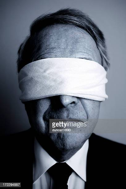 Portrait of Businessman with Blindfold On, Black and White
