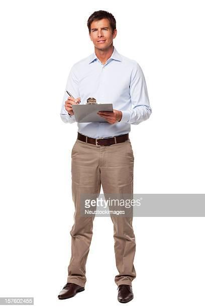 Retrato de homem de negócios com a área de transferência. Isolado