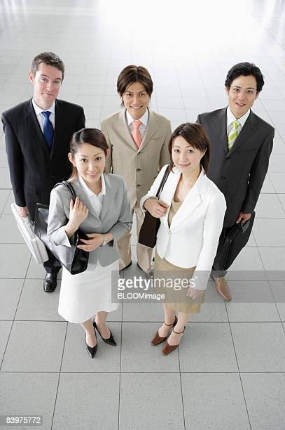 Portrait of businesspeople, high angle view