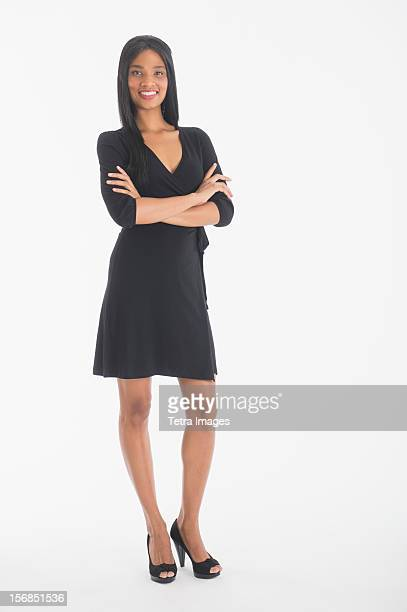 Portrait of businesswoman gesturing, studio shot