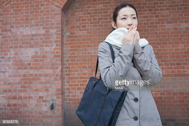 Portrait of businesswoman in winter clothes