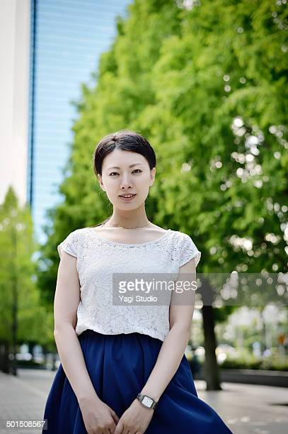 Portrait of businesswoman outside office building