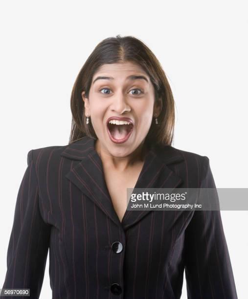 Portrait of businesswoman screaming