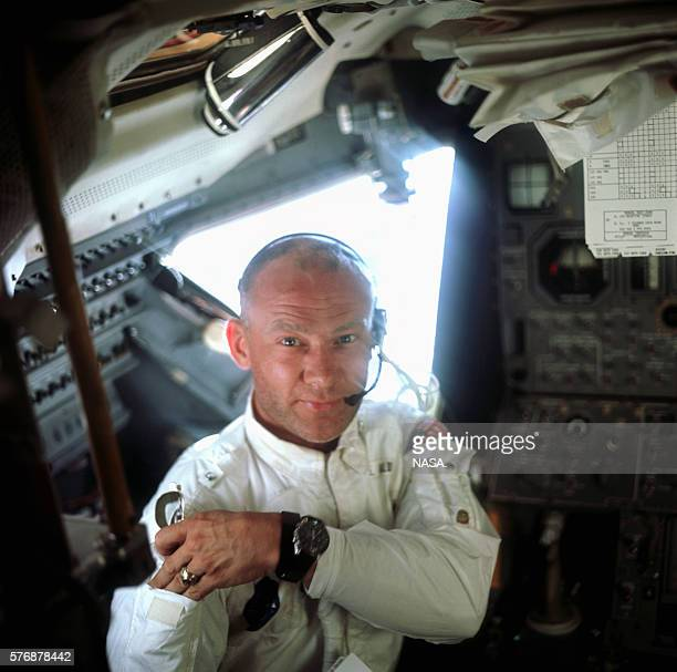 A portrait of Buzz Aldrin aboard the Lunar Module Eagle on the lunar surface just after the first moon walk