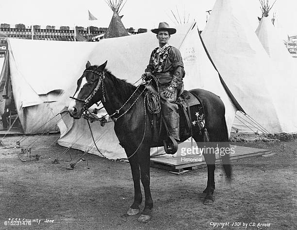 Portrait of Calamity Jane sitting on her horse She was a frontierswoman who supposedly scouted for General Custer and later travelled with Wild Bill...