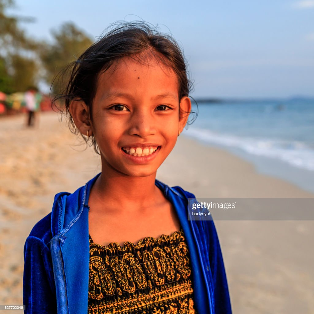 Cambodian Little Girls Playing On The Beach Cambodia High