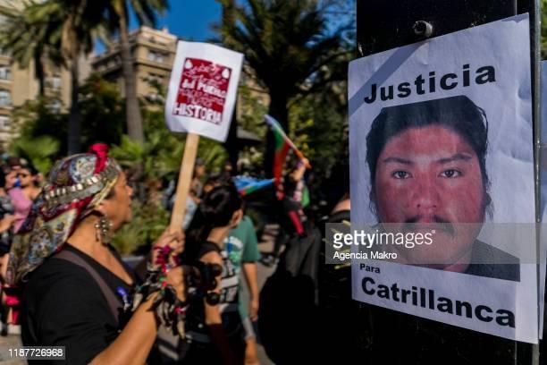 Portrait of Camilo Catrillanca on a post reads 'Justice for Camilo Catrillanca' at Plaza de Armas during a protest against president Sebastian Piñera...