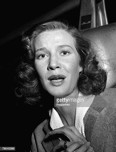 Portrait of Canadian actress Lois Maxwell during the filming of 'Women in Twilight', 1952
