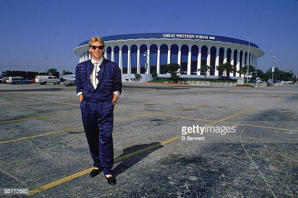 Portrait of Canadian hockey player Bernie Nicholls of the LA Kings as he stands in the parking lot of the Great Western Forum Los Angeles California...