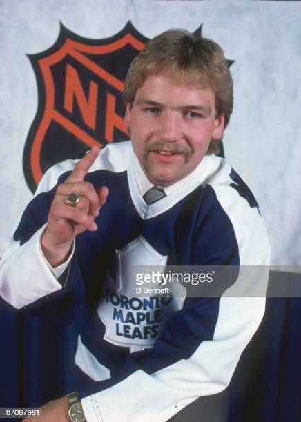 Portrait of Canadian ice hockey player Wendel Clark in the jersey of the Toronto Maple Leafs, following his first round, first place selection in the...