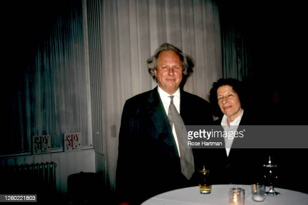 Portrait of Canadian journalist and magazine editor Graydon Carter and American author Fran Lebowitz attend a party for Spy magazine at the Puck...