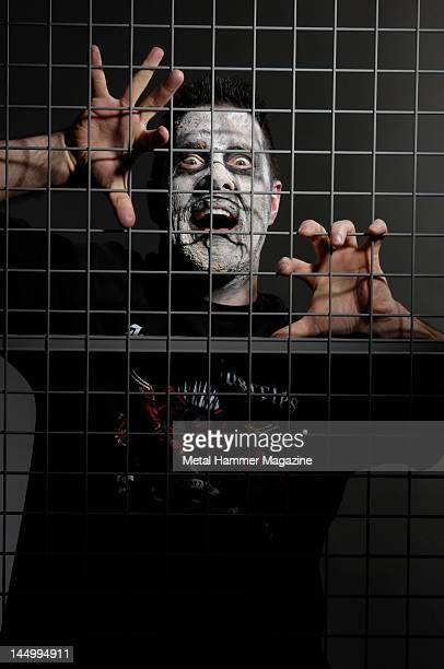Portrait of Canadian musician Jeff Waters frontman of metal group Annihilator posing in zombie makeup taken on March 31 2009 in London