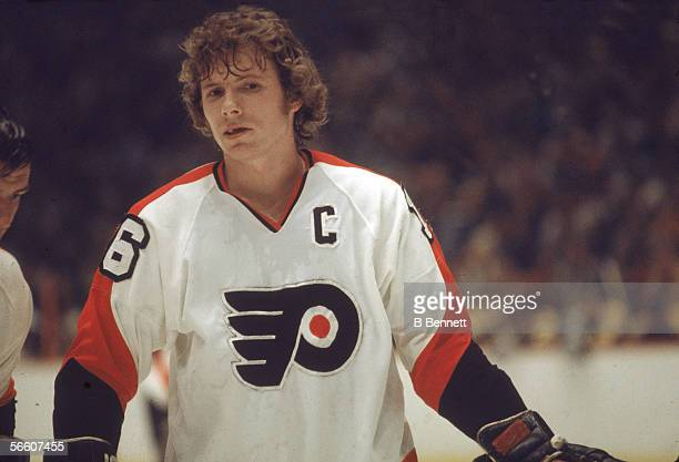 Portrait of Canadian pro hockey player Bobby Clarke of the Philadelphia Flyers on the ice during a home game, Philadelphia, Pennsylvania, 1970s.
