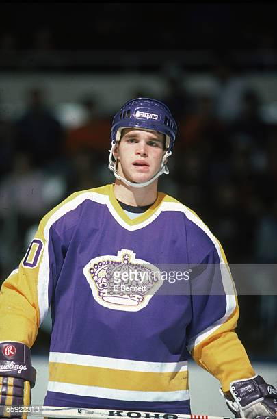 Portrait of Canadian pro hockey player Luc Robitaille of the Los Angeles Kings on the ice during an away game 1980s