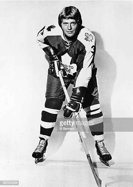 Portrait of Canadian professional hockey player and later coach Brad Selwood in the uniform of the Toronto Maple Leafs early 1970s Selwood played for...