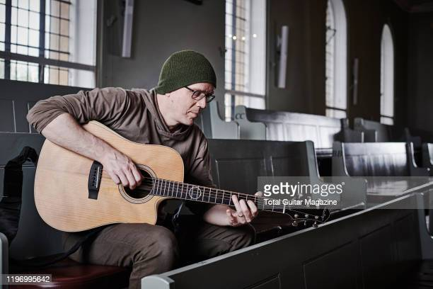 Portrait of Canadian rock musician Devin Townsend photographed before a live performance at St Georges Church in Bristol England on April 26 2019