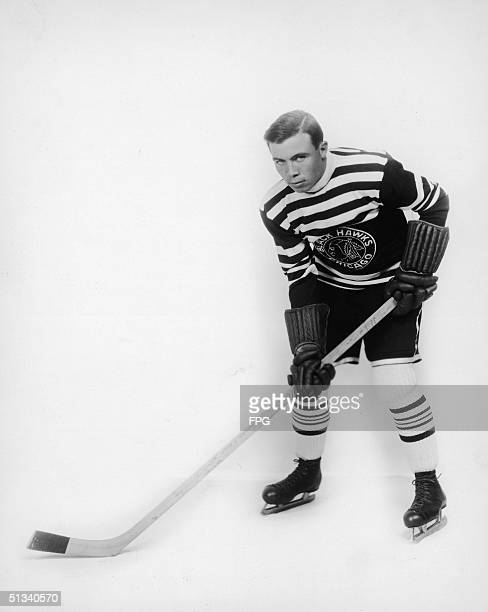 Portrait of Canadianborn ice hockey player Harold 'Mush' March in a Chicago Blackhawks uniform 1930s