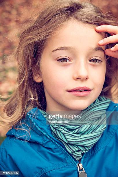 "portrait of candid little girl outdoors in autumn nature. - ""martine doucet"" or martinedoucet stock pictures, royalty-free photos & images"