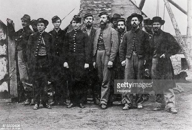 Portrait of Captain Asa W Bartlett and other Union officers Bartlett commanded a detachment at Cobb's Hill signal station Point of Rocks Virginia 1864