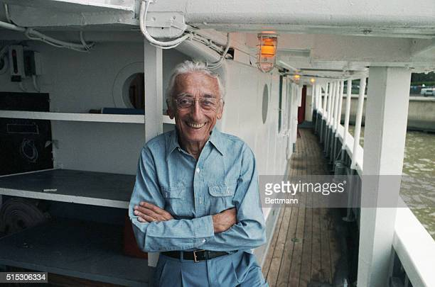 Portrait of Captain Jacques Cousteau aboard his ship The Calypso for his 75th birthday celebration