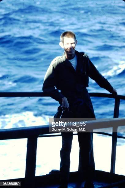 Portrait of Captain Jim C Jones aboard a USNS Marine Serpent transport ship South Korea January 1952