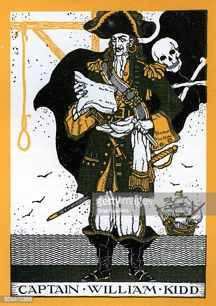 Portrait of Captain William Kidd, with a skull and crossbones pirate flag and a hangman's noose. Kidd was executed after a trial for piracy before...