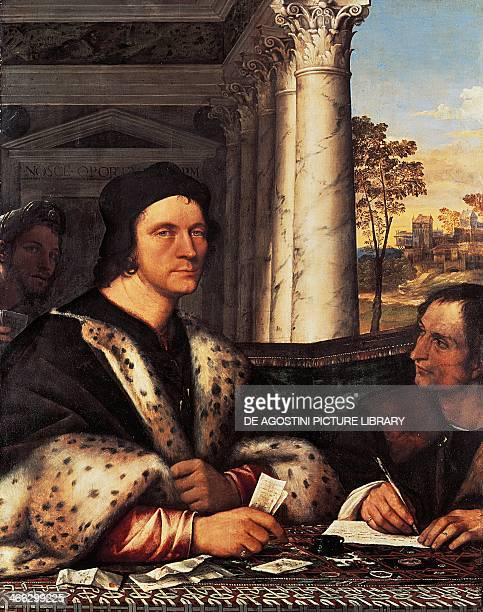 Portrait of Cardinal Ferry Carondelet with the secretary painting by Sebastiano del Piombo , oil on canvas, 113x87 cm.