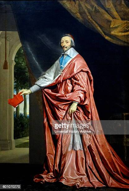 Portrait of Cardinal Richelieu a French clergyman nobleman and statesman by Philippe de Champaigne a founding member of the Academie de peinture et...