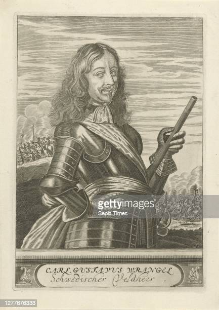Portrait of Carl Gustaf Wrangel Portrait to the right of Carl Gustaf Wrangel dressed in armor He holds a command staff in his left hand A battle is...