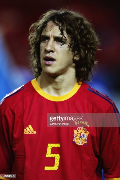 Portrait of Carles Puyol of Spain taken before the UEFA European Championships 2004 Group 6 Qualifying match between Spain and Ukraine held on...