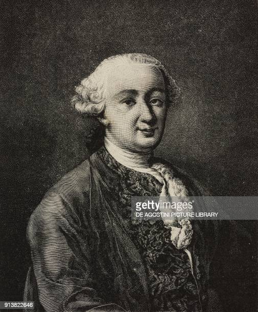 Portrait of Carlo Goldoni Italian playwright engraving after an oil on canvas by Alessandro Longhi from L'Illustrazione Italiana Year XX No 7...