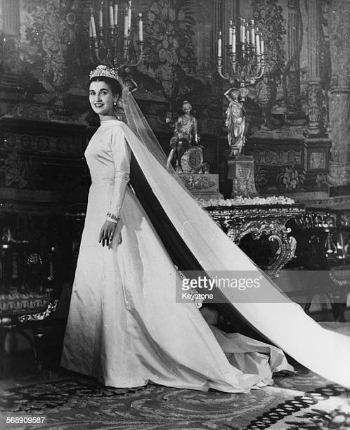 Portrait of Carmen Franco Polo daughter of General Franco wearing her wedding dress prior to her marriage to the Marquess de Villaverde Madrid April...