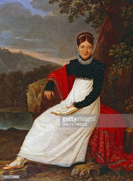 Portrait of Caroline Bonaparte in a Neapolitan peasant costume Queen consort of Naples and Sicily painting by Giuseppe Cammarano Rome Museo...