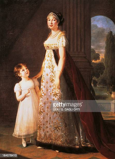 Portrait of Caroline Bonaparte Queen of Naples and daughter of Carlo Buonaparte with her daughter Letizia Painting by Elisabeth Vigee LeBrun oil on...