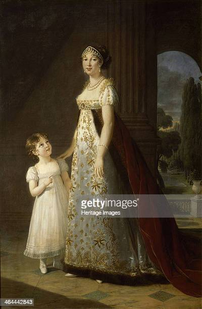 Portrait of Caroline Bonaparte Queen of Naples and Sicily with her daughter Letizia 1807 Found in the collection of the Musée de l'Histoire de France
