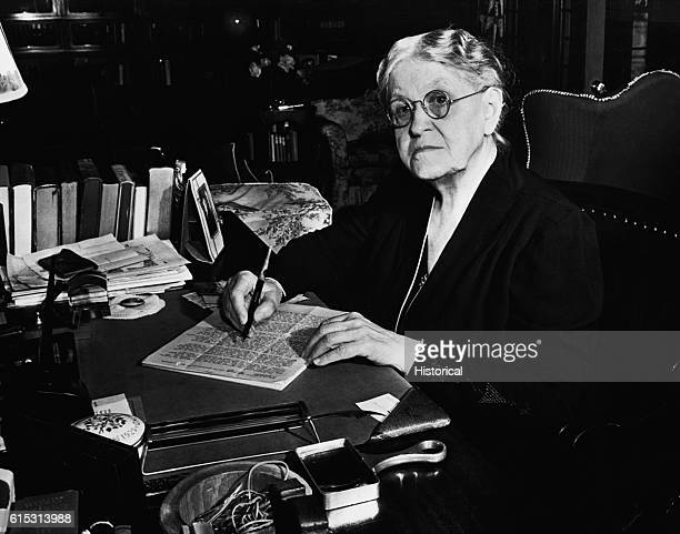 A portrait of Carrie Chapman Catt a prominent suffragette whose efforts were pivotal in the adoption of the 19th Amendment to the United States...