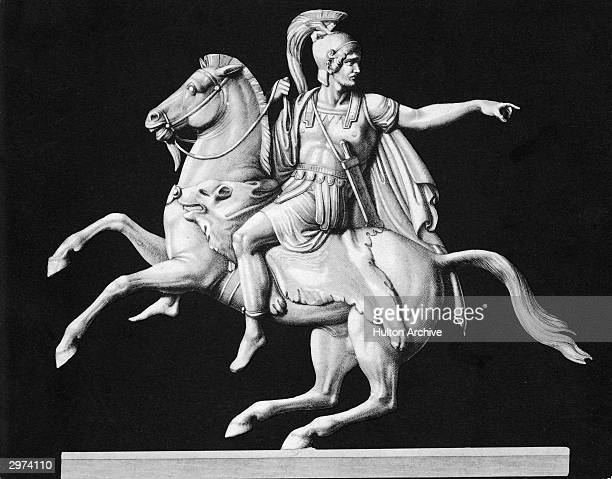 Portrait of Carthaginian general and political leader Hannibal riding a horse and gesturing with his left arm circa 200 BC In 218 BC Hannibal led his...